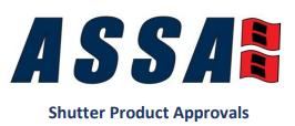 ASSA Shutter product approvals